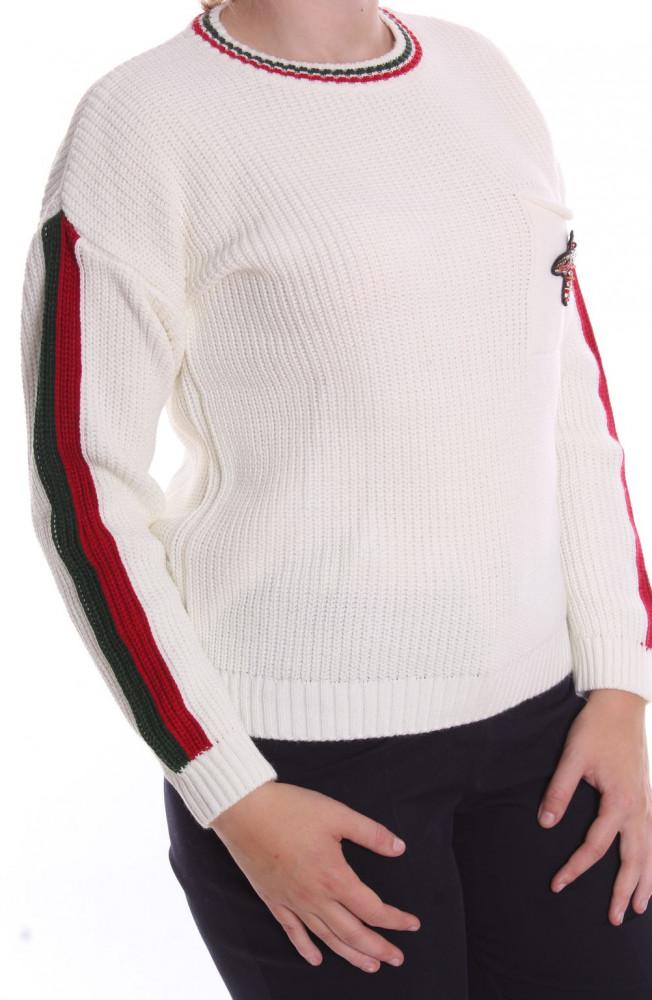 6dfeaf846ad7 Dámsky pletený pulóver s LIENKOU (7916) - biely D3 - Dámske svetre a ...