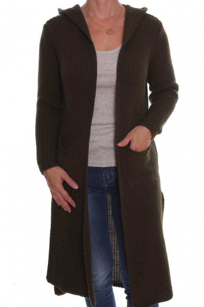 946dfb96ef5bb Dámsky pletený sveter s kapucňou - zelený D3 - Svetre a pulóvre pre ...