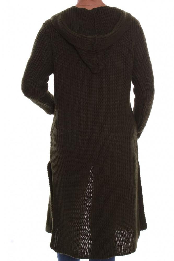 9a4348c0d489 Dámsky pletený sveter s kapucňou - zelený D3 - Svetre a pulóvre pre ...