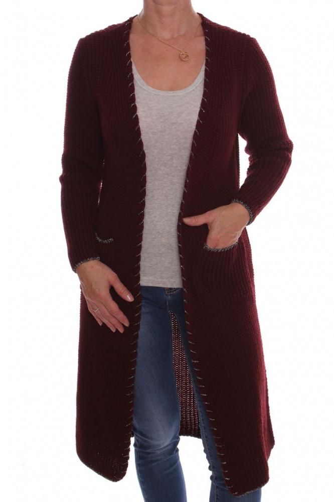 3f1eadd03db0 Dámsky pletený sveter s vreckami - bordový D3 - Svetre a pulóvre pre ...