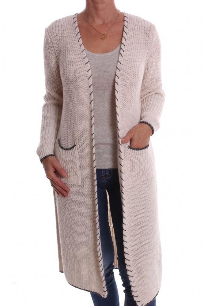 2b3da3b4bd33 Dámsky pletený sveter s vreckami - krémový D3 - Svetre a pulóvre pre ...