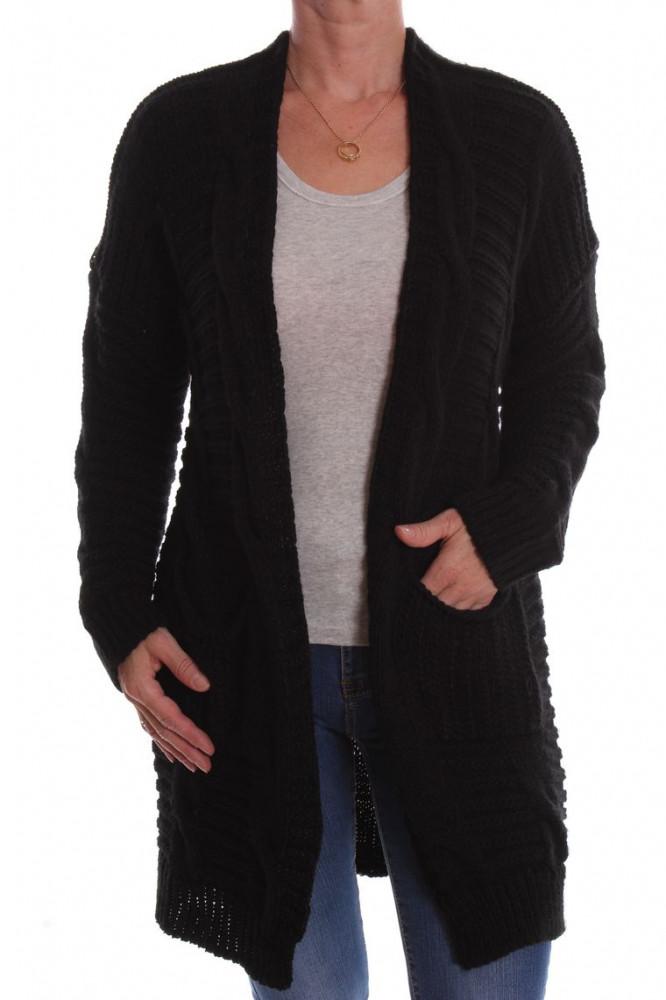 8699d1a81fac Dámsky pletený sveter vzorovaný - čierny D3 - Svetre a pulóvre pre ...