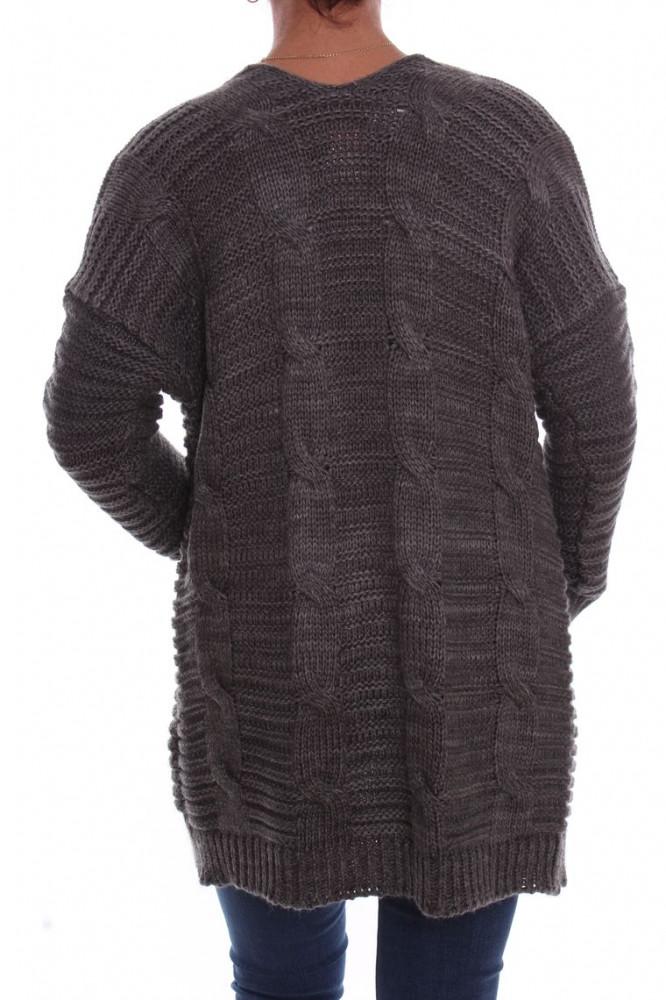 26e5e5f578e8 Dámsky pletený sveter vzorovaný - sivý D3 - Svetre a pulóvre pre ...