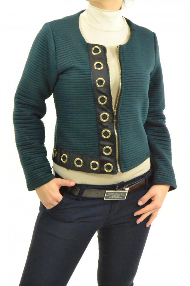 Dámsky úpletový kabátik na zips - tmavozelený D3 - Dámske kabáty ... 3e60fb2606d
