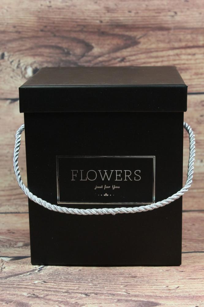 Darčeková krabica FLOWERS - čierna (15x18x16 cm)