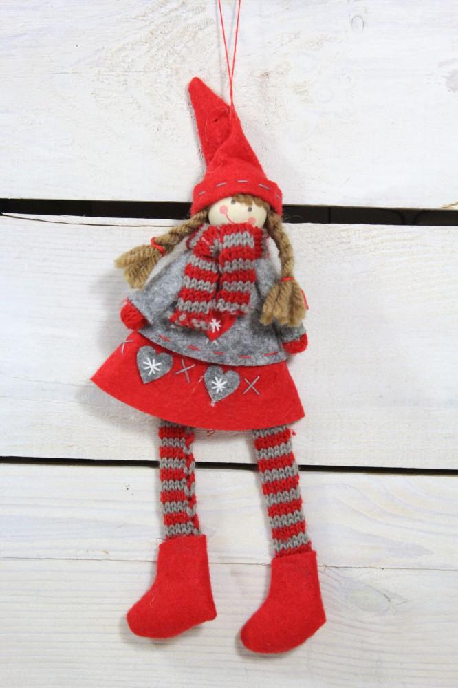 Dievčatko červeno-sivé šaty (v. 22 cm) 1.