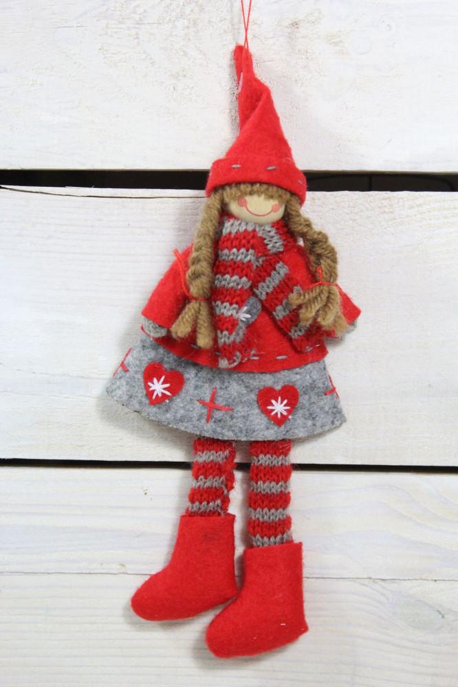 Dievčatko červeno-sivé šaty (v. 22 cm) 2.