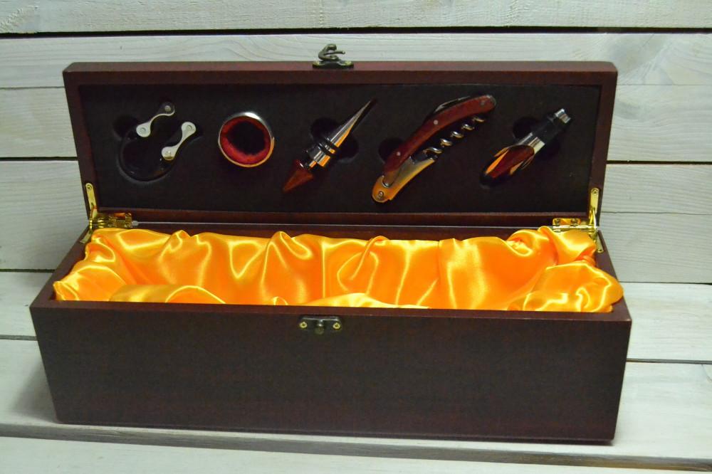 Drevená krabica na víno - mahagónová 2 (36x12x11 cm)