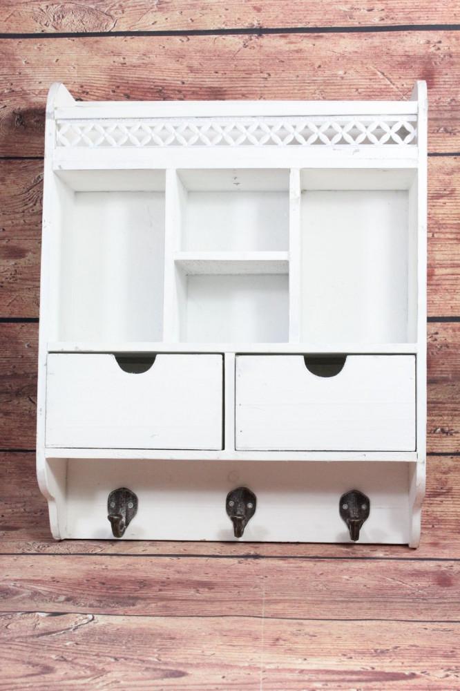 Drevená polička so 2 šuflíkmi (40x50x11,5 cm)