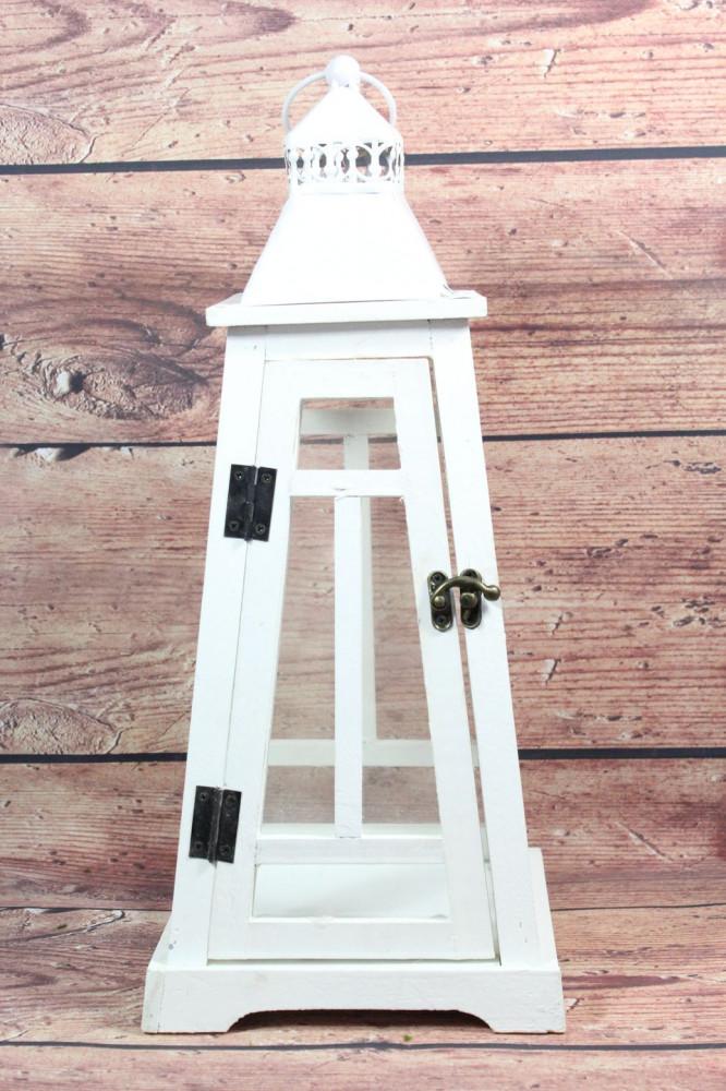 Drevený lampáš - biely (v. 45 cm)