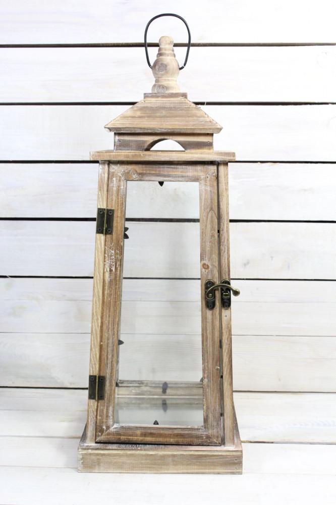 Drevený lampáš - hnedý (v. 58,5 cm)