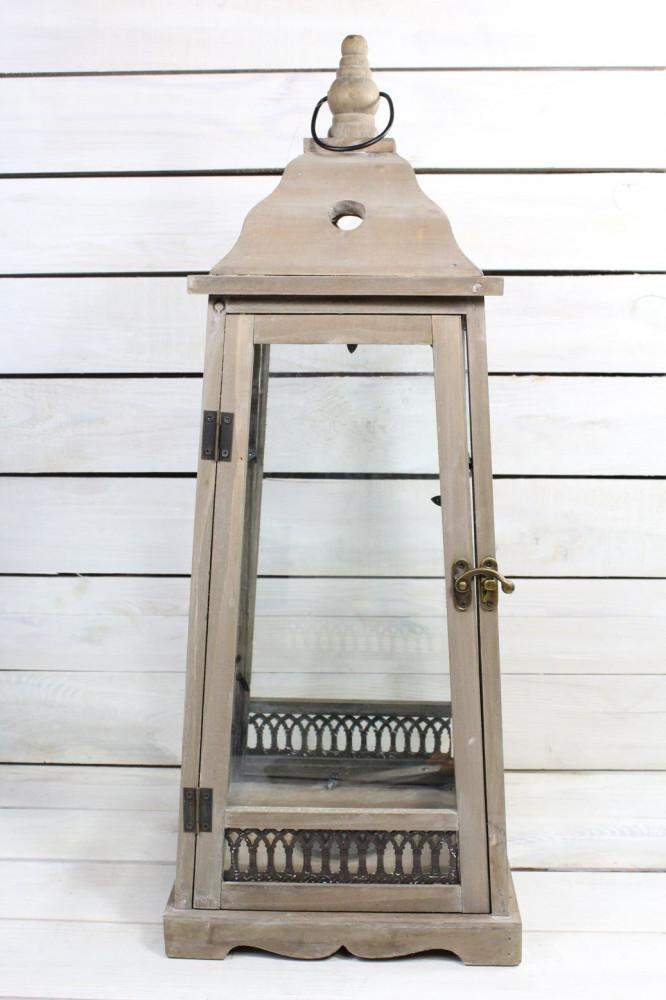 Drevený lampáš - hnedý (v. 68 cm)