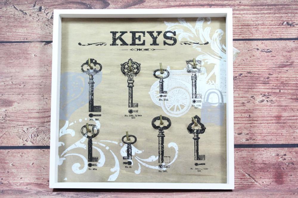 Drevený stojan na kľúče KEYS (30,5x31 cm)