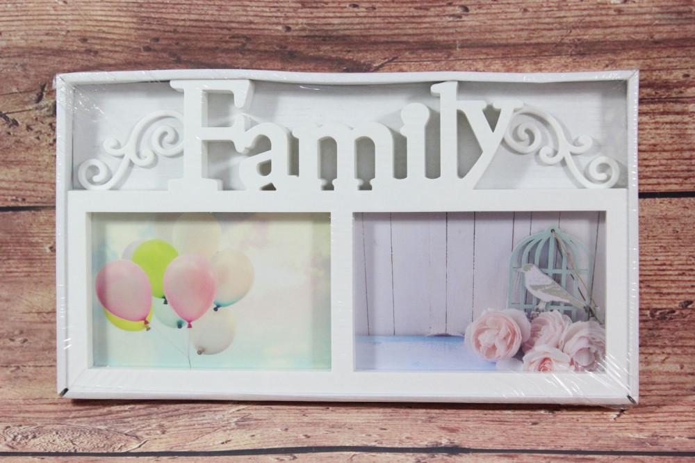 Fotorám na 2 fotky FAMILY - biely (31,5x17 cm)