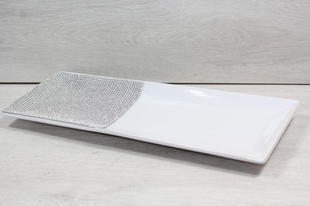 Keramická tácka s kamienkami - biela (39,5x14 cm)