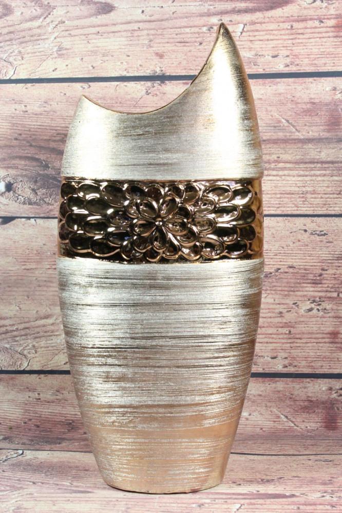 Keramická váza kvety - zlatá ( v. 46 cm )