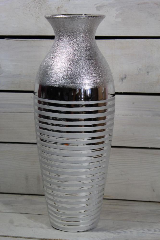 Keramická váza pásikavá - strieborná (v. 35 cm)