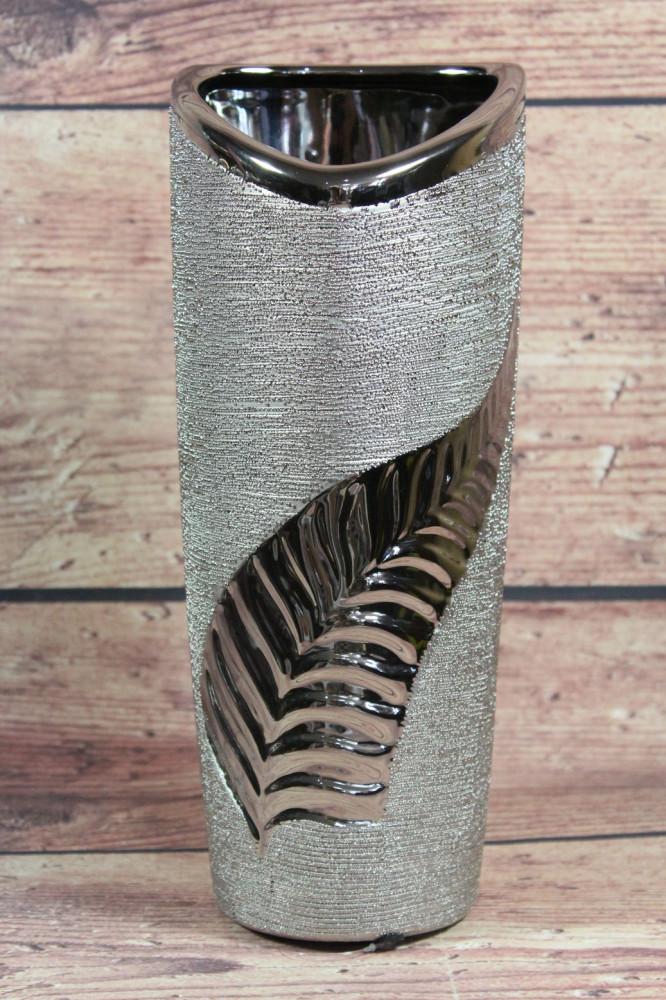Keramická váza s LISTOM - strieborná (v. 27 cm)