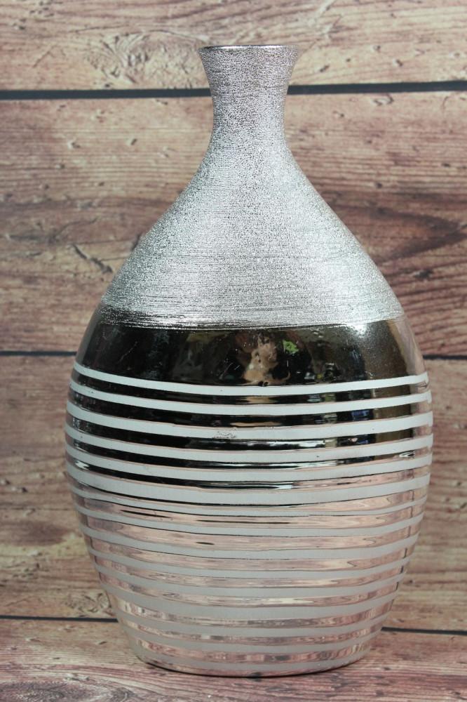 Keramická váza s pásom - strieborná (v. 31 cm)