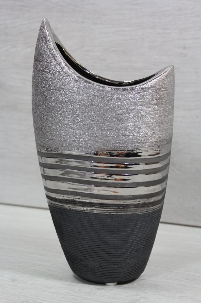 Keramická váza strieborno-sivá (v. 23 cm)