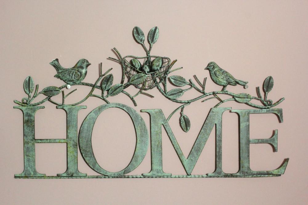 Kovová dekorácia HOME - vtáčiky (58x32,5 cm)