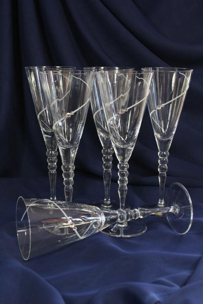 Krištáľové poháre na ŠAMPANSKÉ so swarovski krišt. 5.