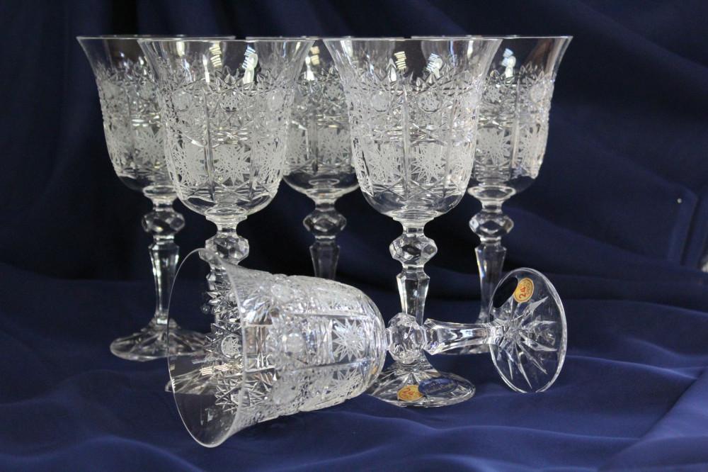 Krištáľové poháre na VÍNO SLOVAK CRYSTAL (Brúsenie: 500 )