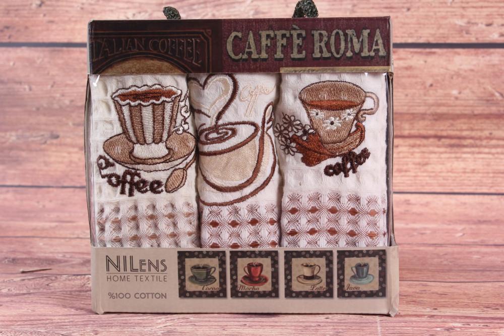 Kuchynské utierky v darčekovom balení NILENS - CAFE ROMA 1 (3 ks 35x50 cm)