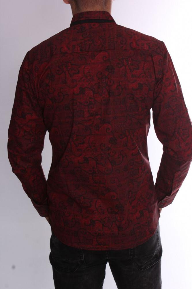 b97da26ff7a0 Pánska elastická košeľa vzorovaná s čiernym lemom (20138) - červená ...