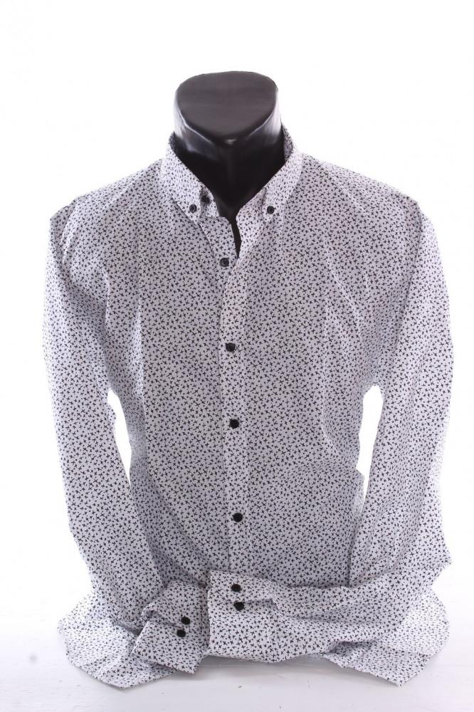 e7381df8542a Pánska elastická košeľa vzorovaná VZOR 05. - biela P379 - Pánske ...