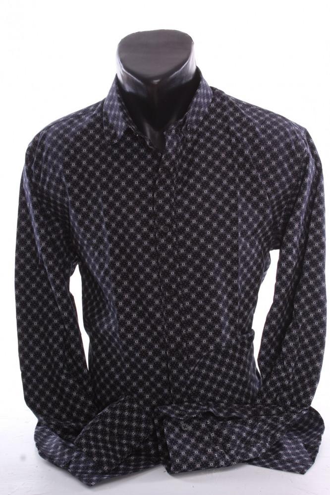 771b139cf043 Pánska elastická košeľa vzorovaná VZOR 08. - čierna P379 - Pánske ...