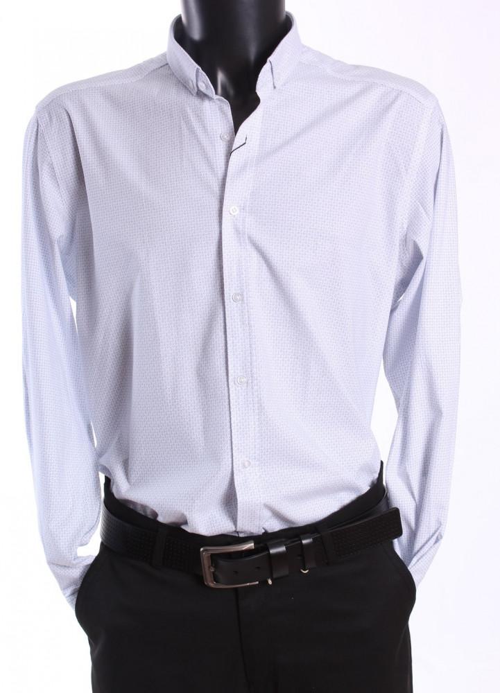 Pánska elastická vzorovaná košeľa LAMARDO - biela