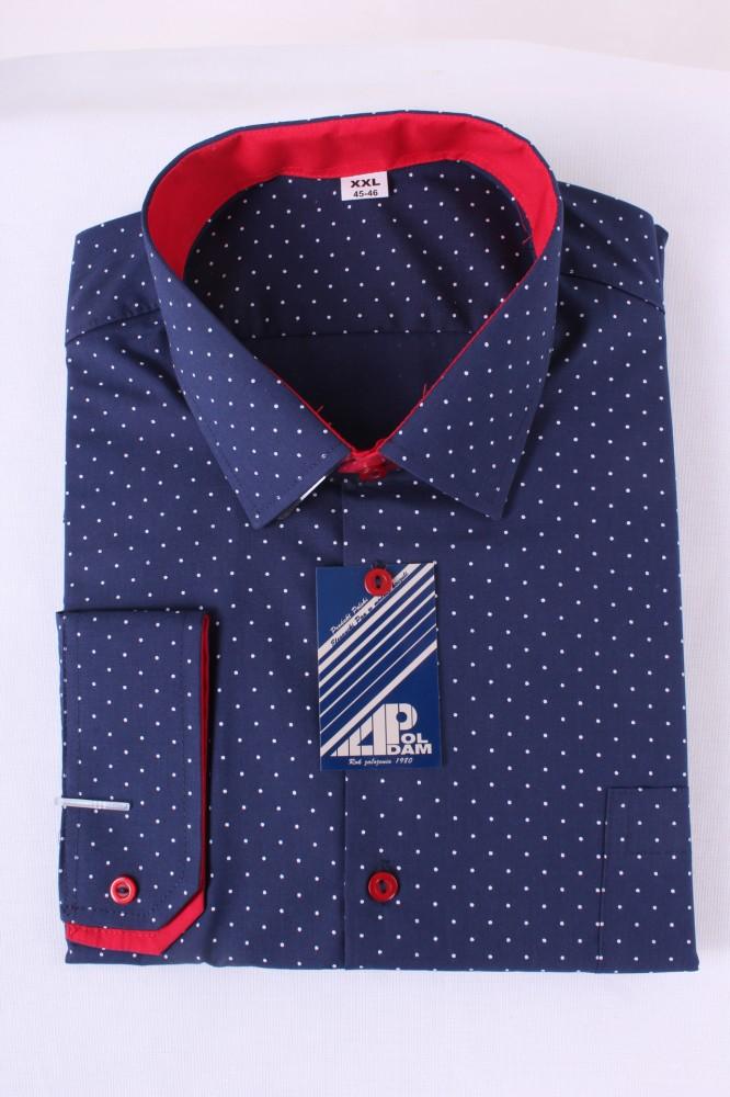 Pánska košeľa bodkovaná 1. - tmavomodro-červená - Moderné pánske ... b4700bfc65c