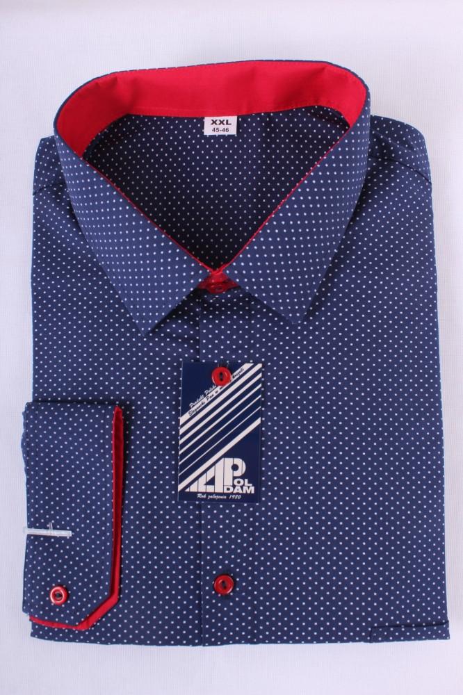 Pánska košeľa bodkovaná 2. - tmavomodro-červená - Moderné pánske ... 1eed0967e27