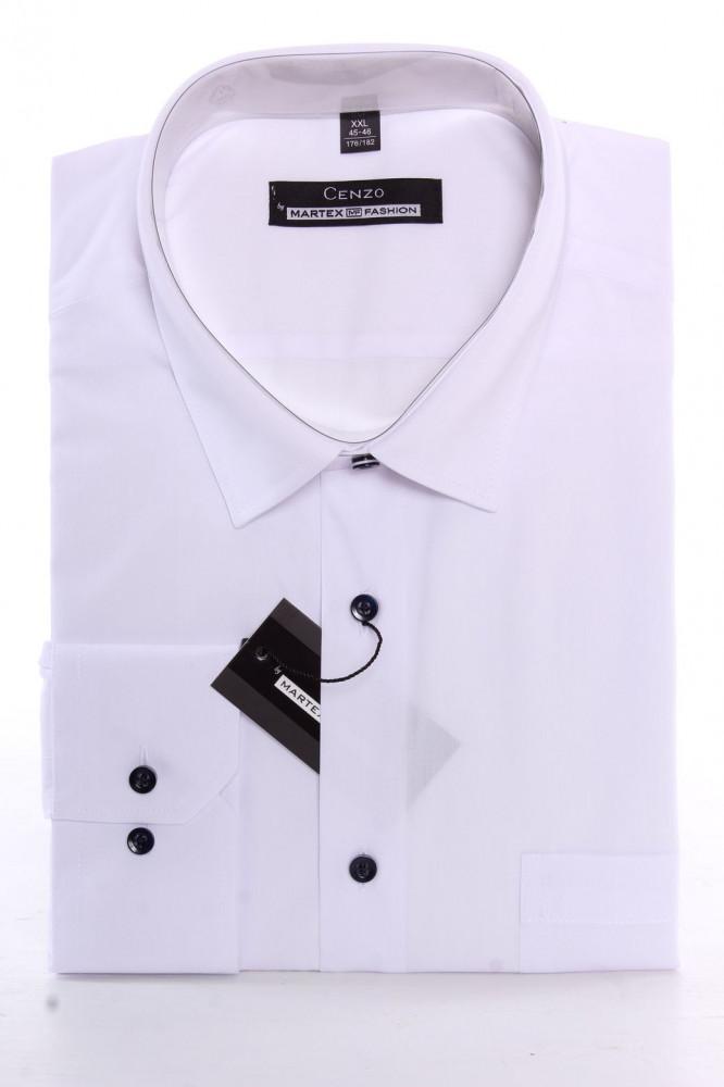 5e00dc42bde7 Pánska košeľa CENZO CLASSIC s čiernymi gombíkmi - biela (v. 176-182 ...
