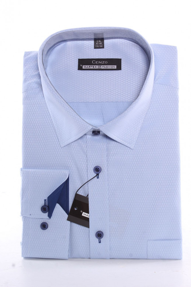 5591098a1e0a Pánska košeľa CENZO CLASSIC vzorovaná - bledomodrá - Pánske ...