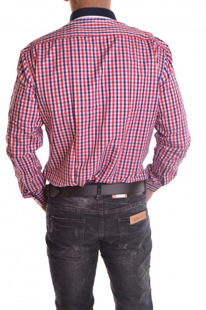 5c01dfc703f6 Pánska košeľa kockovaná s bielym lemovaním - farebná SLIM FIT ...