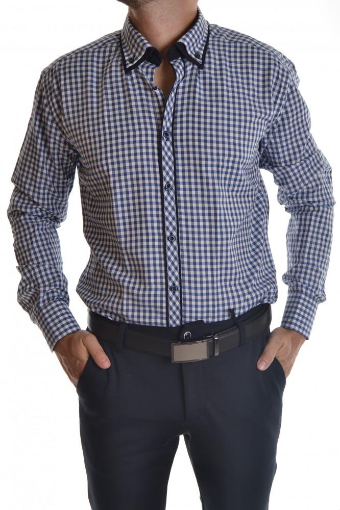 4cfa9ff15965 Pánska košeľa kockovaná s tmavomodrým lemovaním - modro-biela SLIM ...