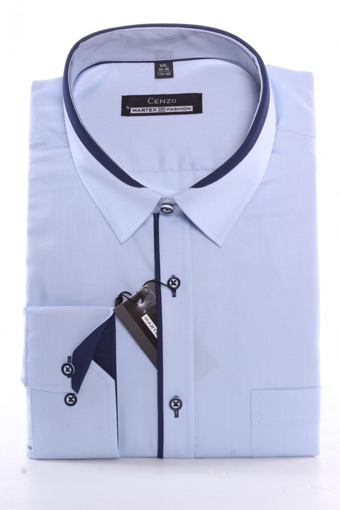Pánska košeľa MARTEX s tmavomodrým lemom - bledomodrá
