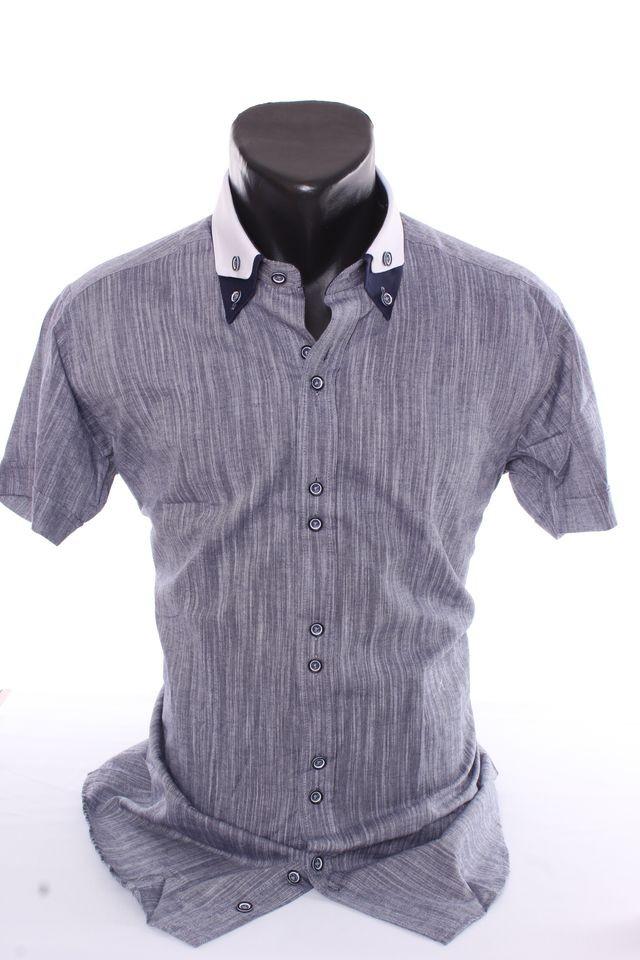 d5eacecae127 Pánska košeľa melírovaná s bielym golierom (SLIM FIT) - sivo-modrá ...