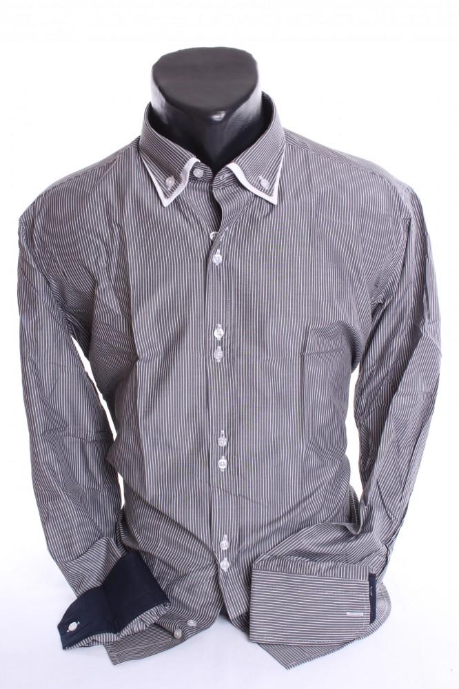 5069e16b4a14 Pánska košeľa pásikavá s bielym lemom - sivo-biela SLIM FIT - Pánske ...