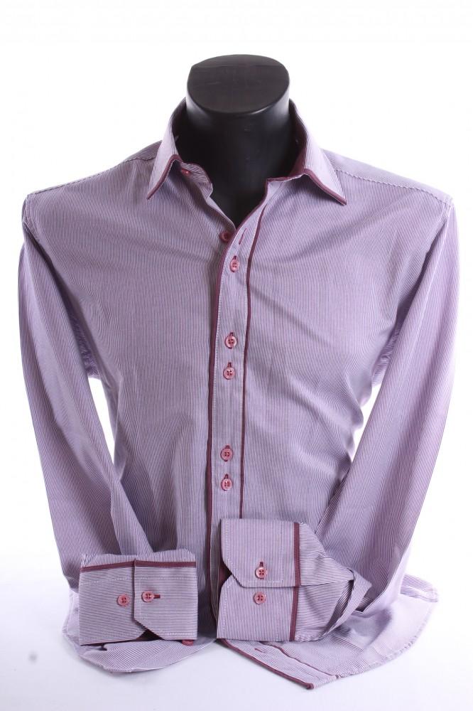 bd8c7c82a0db Pánska košeľa pásikavá s bordovým lemom SLIM FIT - bordovo-biela ...