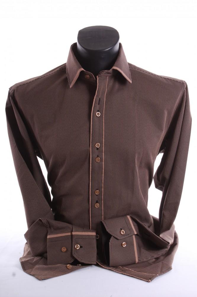 1c4184e10cbd Pánska košeľa pásikavá s hnedým lemom SLIM FIT - hnedo-čierna ...
