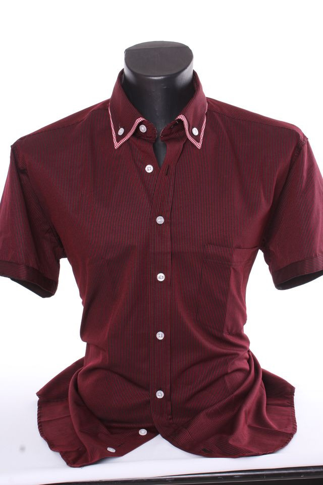 993f417619d3 Pánska košeľa pásikavá s kockovaným lemom CLASSIC - bordovo-čierna ...