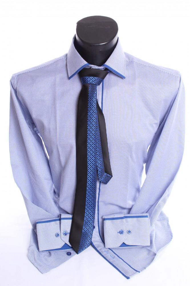 1b6172983 Pánska košeľa pásikavá s modrým lemom a kravatou - modro-biela SLIM FIT