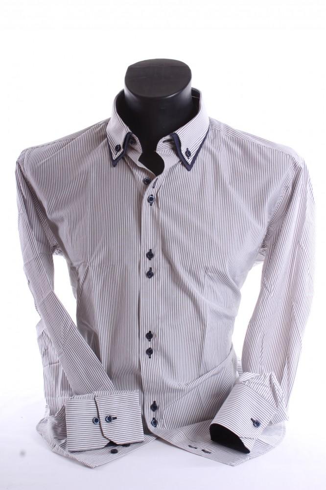 269f286e88f2 Pánska košeľa pásikavá s tmavomodrým lemom - sivo-biela - Pánske ...