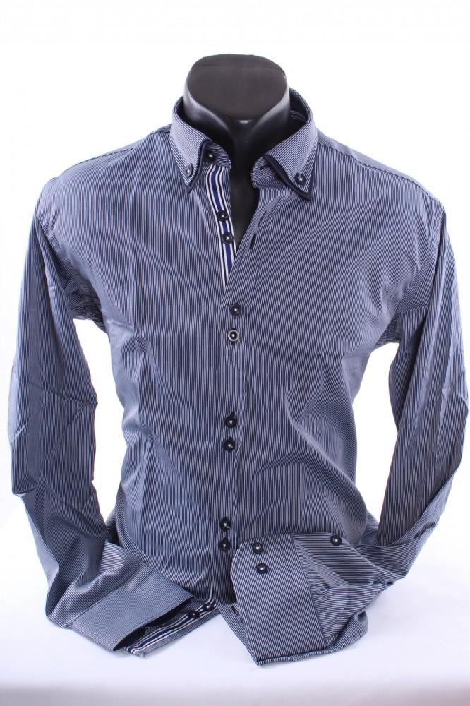 a06c15d3f08e Pánska košeľa pásikavá s tmavomodrým lemom - tmavomodrá SLIMFIT ...