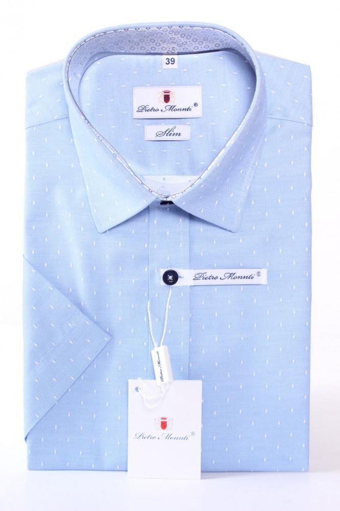 Pánska košeľa s bodkami PIETRO MONTI SLIM - bledomodrá