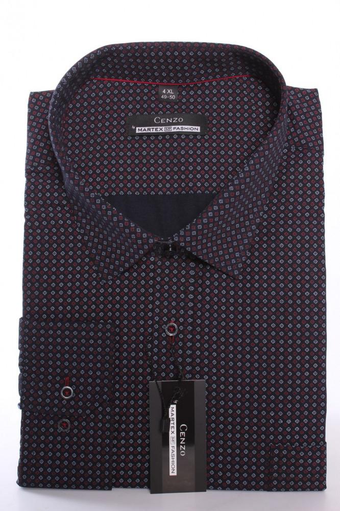 1394013aa843 Pánska košeľa s červeno-bielym vzorom MARTEX CLASSIC - tmavomodrá ...
