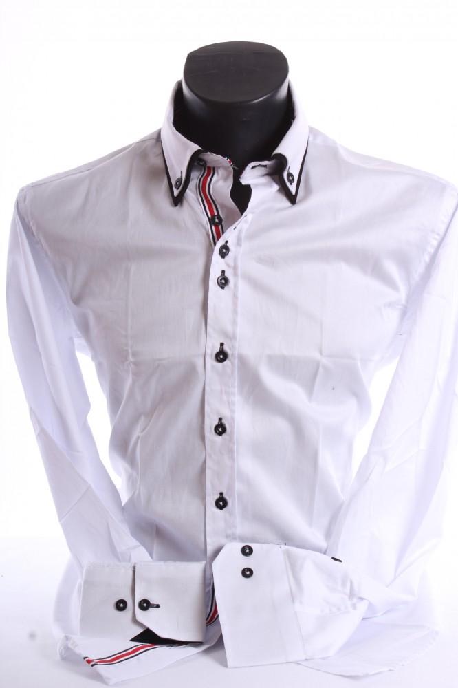 47249b6dc2a4 Pánska košeľa s čiernym lemovaním SLIM FIT - biela - Pánske ...